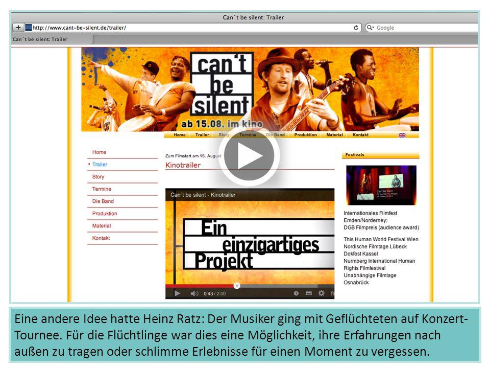 Eine andere Idee hatte Heinz Ratz: Der Musiker ging mit Geflüchteten auf Konzert- Tournee. Für die Flüchtlinge war dies eine Möglichkeit, ihre Erfahru