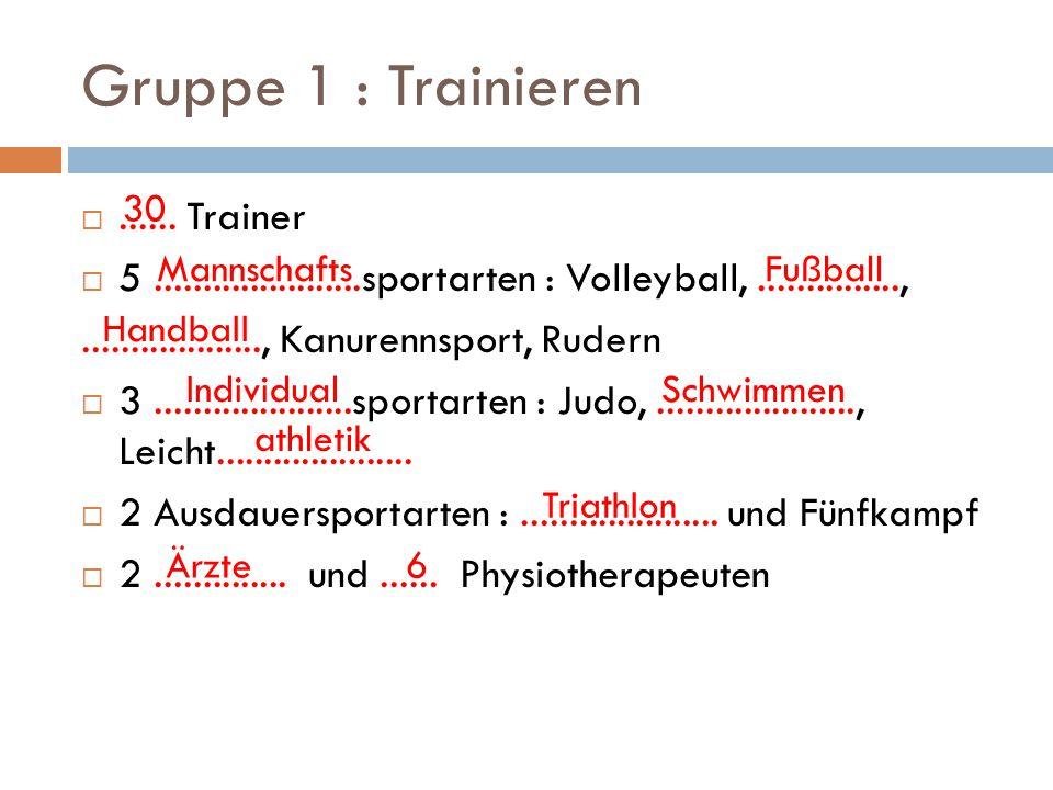 Gruppe 1 : Trainieren ...... Trainer  5......................sportarten : Volleyball,...............,..................., Kanurennsport, Rudern  3.