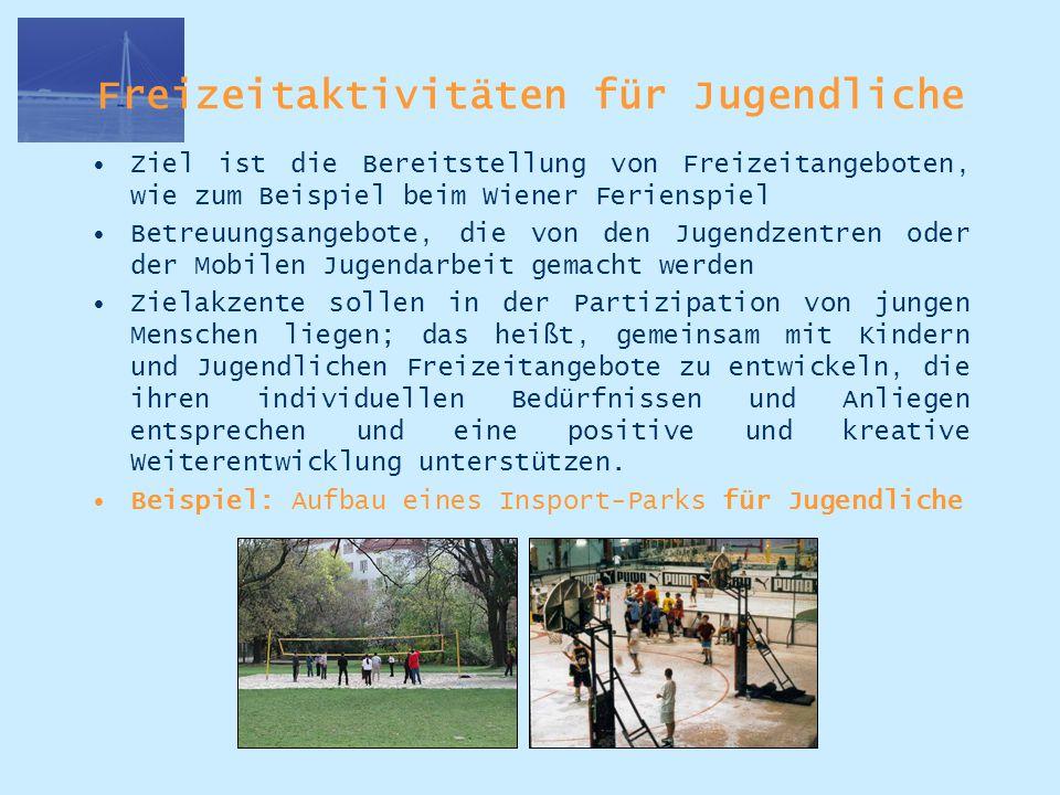Freizeitaktivitäten für Jugendliche Ziel ist die Bereitstellung von Freizeitangeboten, wie zum Beispiel beim Wiener Ferienspiel Betreuungsangebote, di