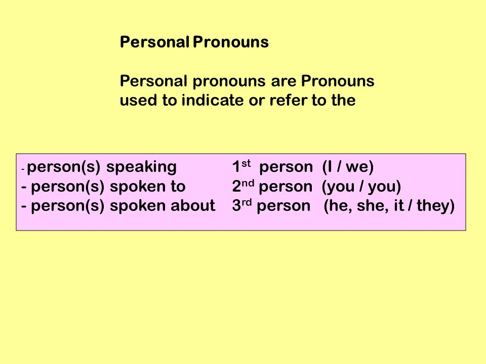 Personal Pronouns Personal pronouns are Pronouns used to indicate or refer to the - person(s) speaking 1 st person (I / we) - person(s) spoken to 2 nd person (you / you) - person(s) spoken about 3 rd person (he, she, it / they)