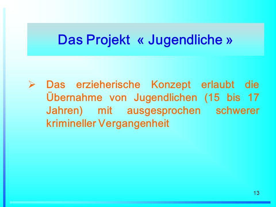 13  Das erzieherische Konzept erlaubt die Übernahme von Jugendlichen (15 bis 17 Jahren) mit ausgesprochen schwerer krimineller Vergangenheit Das Projekt « Jugendliche »