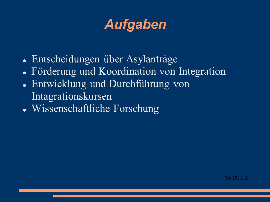 14.09.08 Aufgaben Entscheidungen über Asylanträge Förderung und Koordination von Integration Entwicklung und Durchführung von Intagrationskursen Wissenschaftliche Forschung