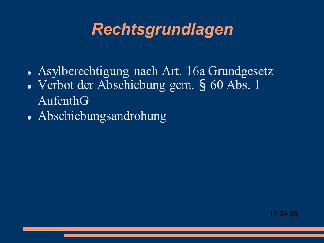 14.09.08 Rechtsgrundlagen Asylberechtigung nach Art. 16a Grundgesetz Verbot der Abschiebung gem. § 60 Abs. 1 AufenthG Abschiebungsandrohung