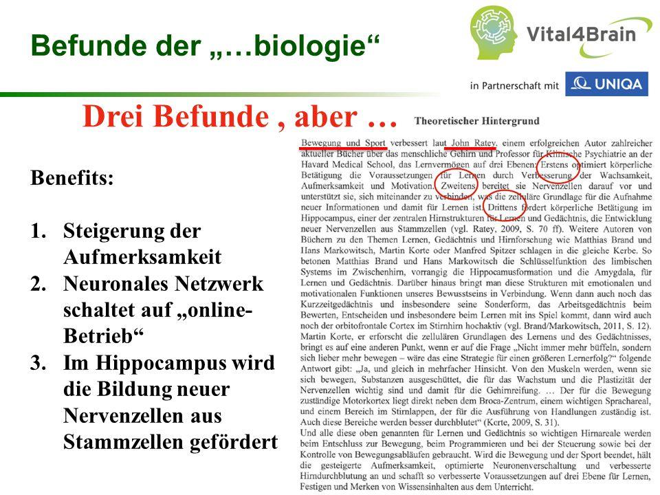 """Chart 28 Drei Befunde, aber … Befunde der """"…biologie"""" Benefits: 1.Steigerung der Aufmerksamkeit 2.Neuronales Netzwerk schaltet auf """"online- Betrieb"""" 3"""