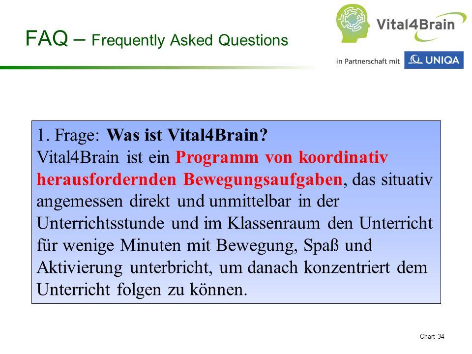 Chart 34 1. Frage: Was ist Vital4Brain? Vital4Brain ist ein Programm von koordinativ herausfordernden Bewegungsaufgaben, das situativ angemessen direk