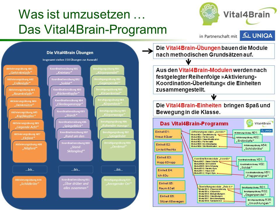 Chart 62 Was ist umzusetzen … Das Vital4Brain-Programm Die Vital4Brain-Übungen bauen die Module nach methodischen Grundsätzen auf. Aus den Vital4Brain
