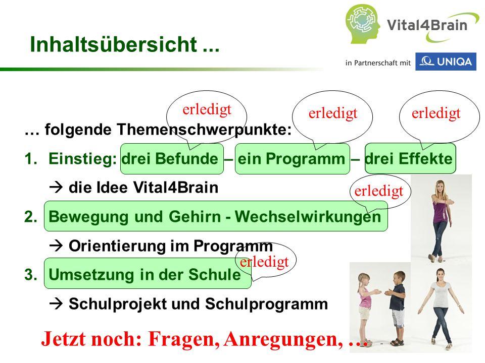 Chart 76 … folgende Themenschwerpunkte: 1.Einstieg: drei Befunde – ein Programm – drei Effekte  die Idee Vital4Brain 2.Bewegung und Gehirn - Wechselw