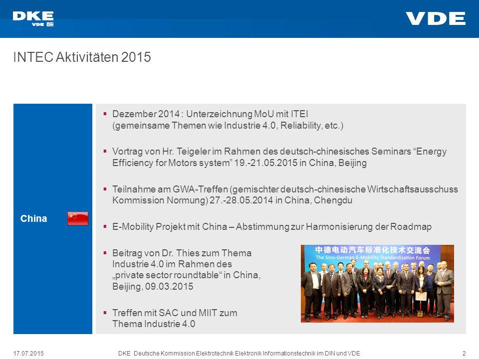 17.07.2015DKE Deutsche Kommission Elektrotechnik Elektronik Informationstechnik im DIN und VDE 2 INTEC Aktivitäten 2015 China  Dezember 2014 : Unterzeichnung MoU mit ITEI (gemeinsame Themen wie Industrie 4.0, Reliability, etc.)  Vortrag von Hr.