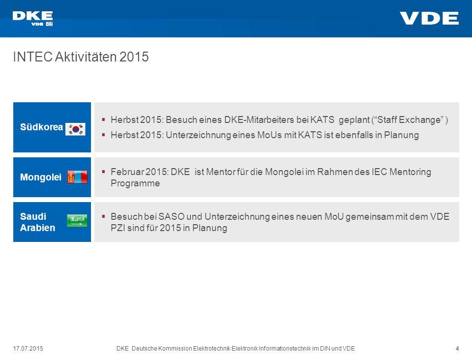 DKE Deutsche Kommission Elektrotechnik Elektronik Informationstechnik im DIN und VDE 4 INTEC Aktivitäten 2015 17.07.2015 4 Südkorea  Herbst 2015: Bes