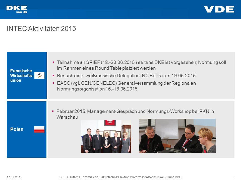 DKE Deutsche Kommission Elektrotechnik Elektronik Informationstechnik im DIN und VDE 5 INTEC Aktivitäten 2015 17.07.2015 Eurasische Wirtschafts- union