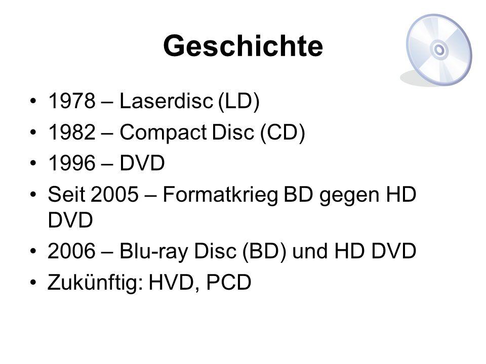 Geschichte 1978 – Laserdisc (LD) 1982 – Compact Disc (CD) 1996 – DVD Seit 2005 – Formatkrieg BD gegen HD DVD 2006 – Blu-ray Disc (BD) und HD DVD Zukün