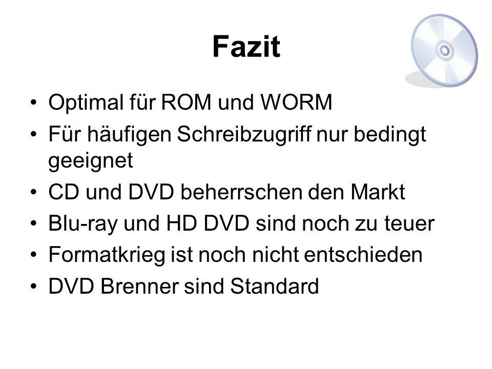 Fazit Optimal für ROM und WORM Für häufigen Schreibzugriff nur bedingt geeignet CD und DVD beherrschen den Markt Blu-ray und HD DVD sind noch zu teuer