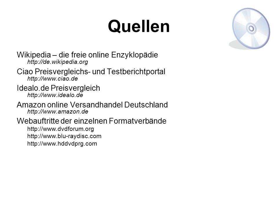 Quellen Wikipedia – die freie online Enzyklopädie http://de.wikipedia.org Ciao Preisvergleichs- und Testberichtportal http://www.ciao.de Idealo.de Pre
