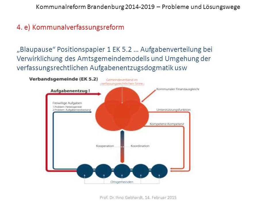 """Kommunalreform Brandenburg 2014-2019 – Probleme und Lösungswege 4. e) Kommunalverfassungsreform """"Blaupause"""" Positionspapier 1 EK 5.2 … Aufgabenverteil"""