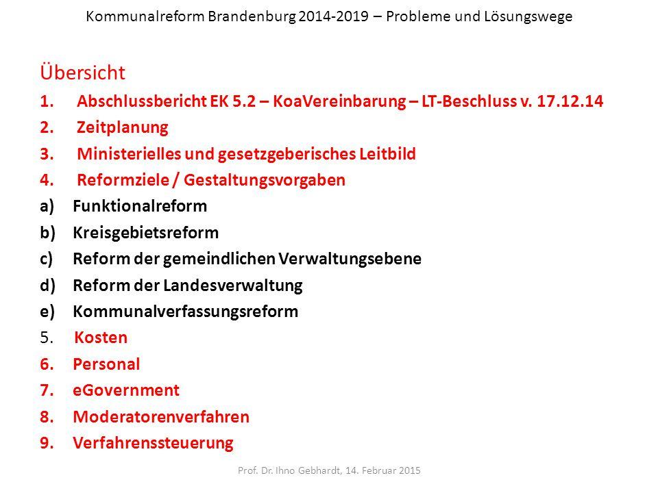 Kommunalreform Brandenburg 2014-2019 – Probleme und Lösungswege Übersicht 1.Abschlussbericht EK 5.2 – KoaVereinbarung – LT-Beschluss v. 17.12.14 2.Zei