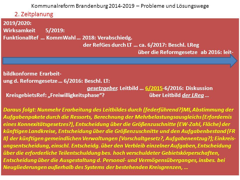 Kommunalreform Brandenburg 2014-2019 – Probleme und Lösungswege 2. Zeitplanung Prof. Dr. Ihno Gebhardt, 14. Februar 2015 2019/2020: Wirksamkeit 5/2019