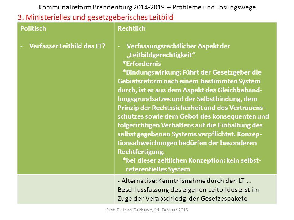 Kommunalreform Brandenburg 2014-2019 – Probleme und Lösungswege 3. Ministerielles und gesetzgeberisches Leitbild Prof. Dr. Ihno Gebhardt, 14. Februar