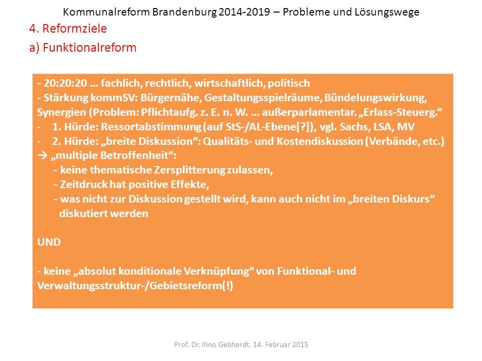 Kommunalreform Brandenburg 2014-2019 – Probleme und Lösungswege 4. Reformziele a) Funktionalreform Prof. Dr. Ihno Gebhardt, 14. Februar 2015 - 20:20:2