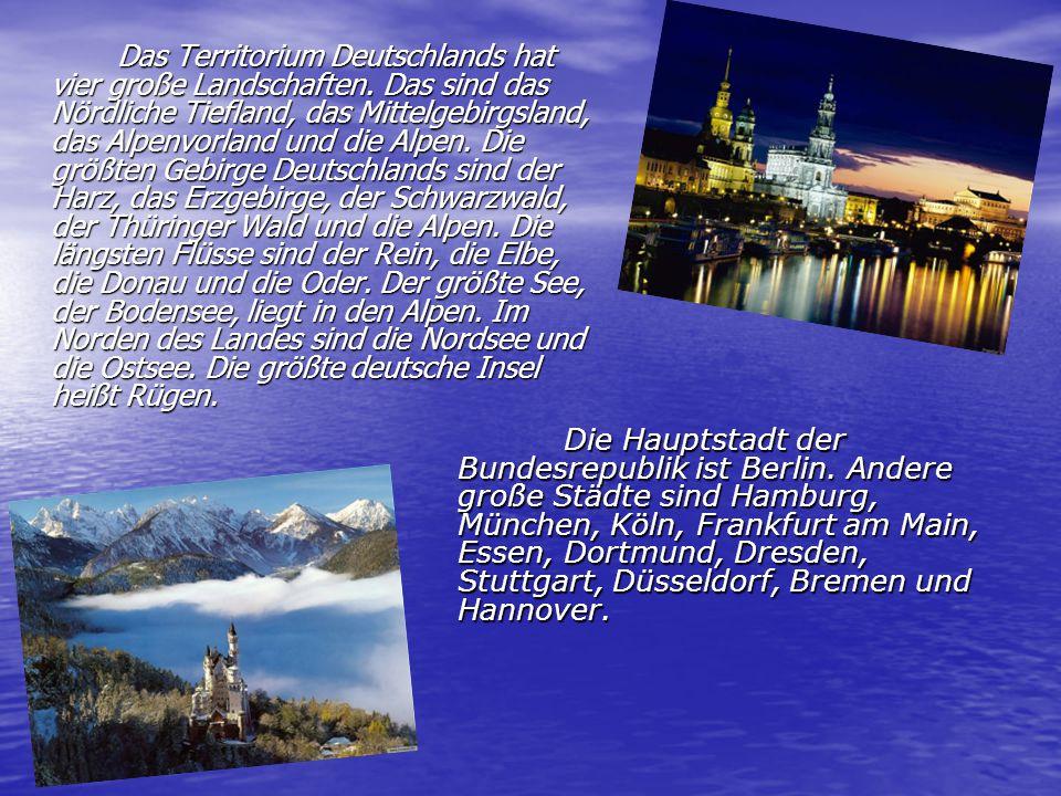 1.Wie groß ist die Fläche Deutschlands. 2. Wie viele Menschen leben in Deutschland.
