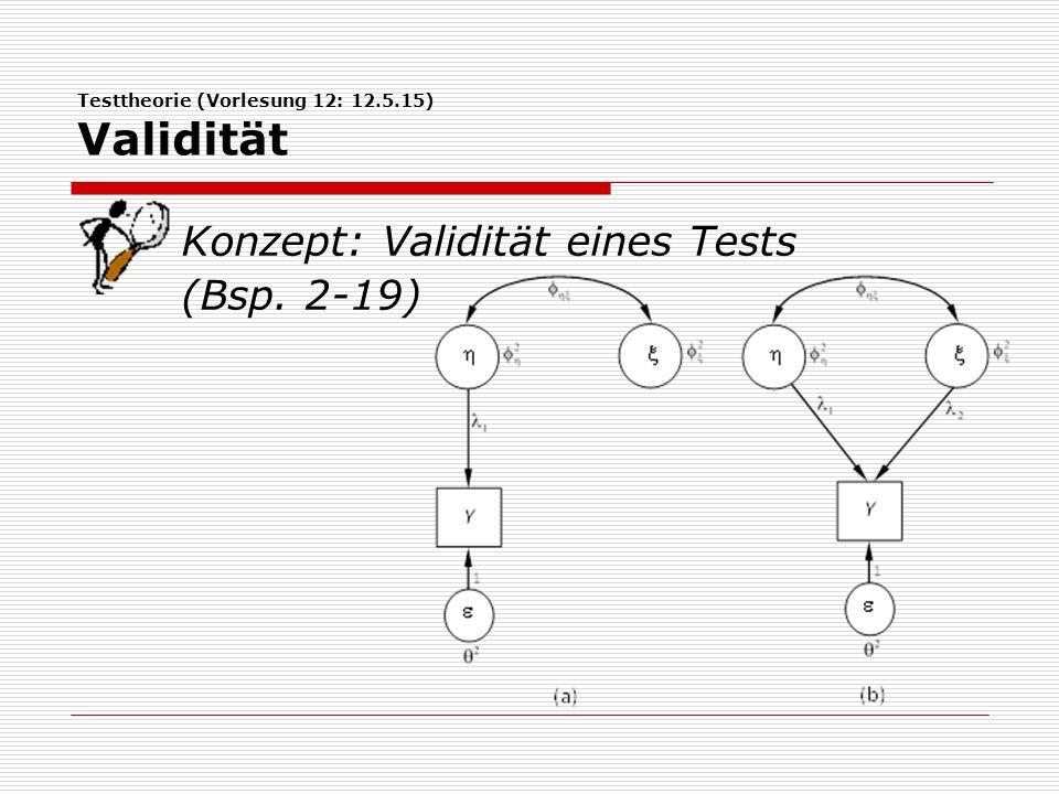 Testtheorie (Vorlesung 12: 12.5.15) Validität Konzept: Validität eines Tests (Bsp. 2-19)