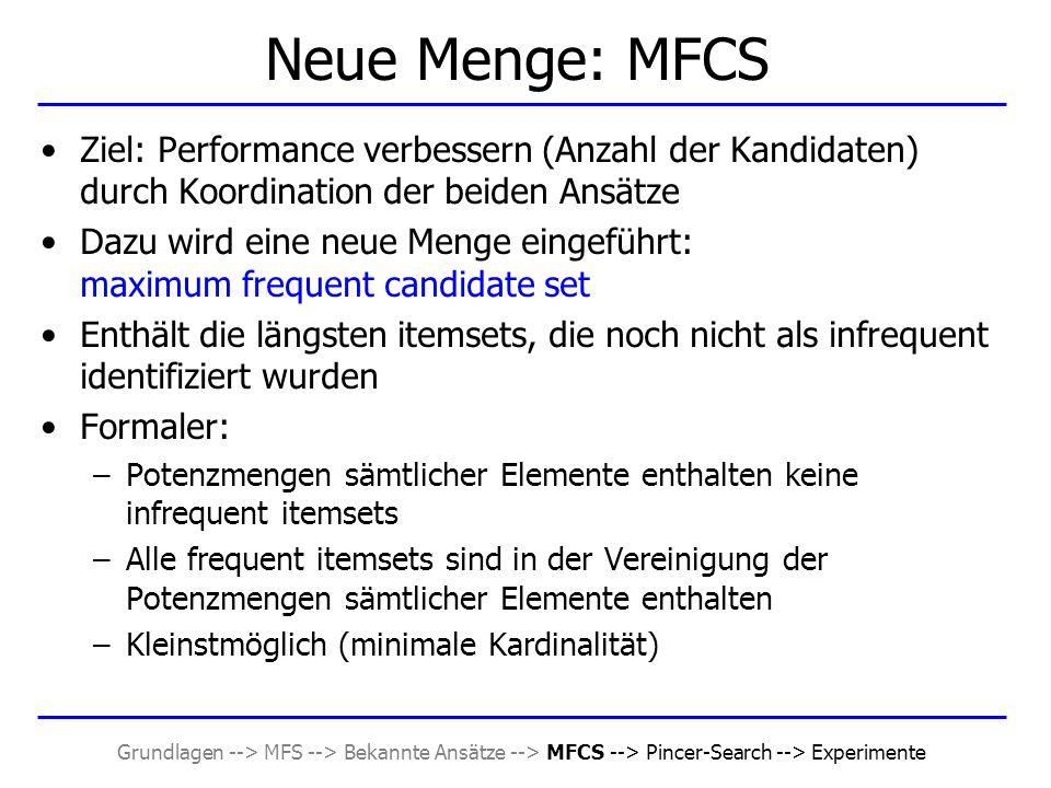 Grundlagen --> MFS --> Bekannte Ansätze --> MFCS --> Pincer-Search --> Experimente Neue Menge: MFCS Ziel: Performance verbessern (Anzahl der Kandidate