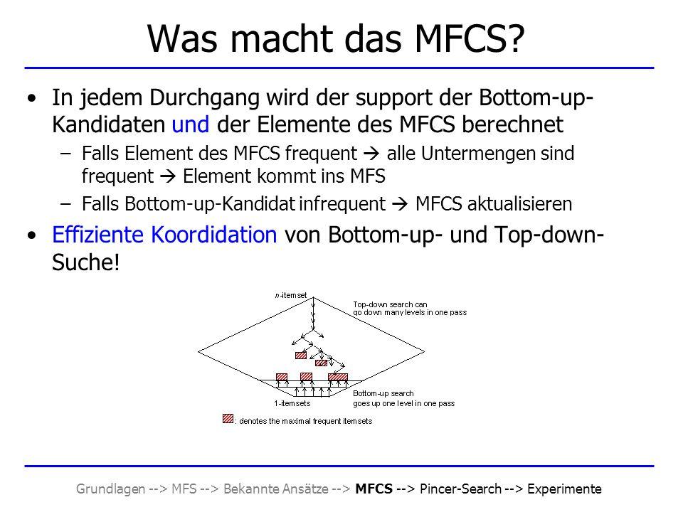 Grundlagen --> MFS --> Bekannte Ansätze --> MFCS --> Pincer-Search --> Experimente Was macht das MFCS? In jedem Durchgang wird der support der Bottom-