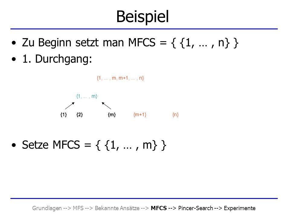 Grundlagen --> MFS --> Bekannte Ansätze --> MFCS --> Pincer-Search --> Experimente Beispiel Zu Beginn setzt man MFCS = { {1, …, n} } 1. Durchgang: Set