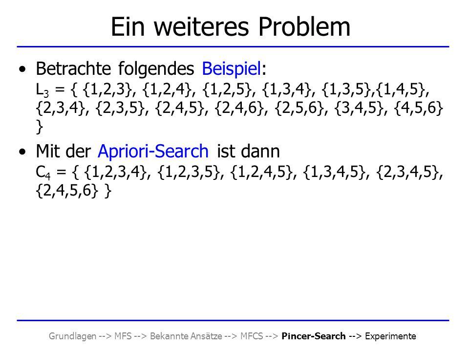 Grundlagen --> MFS --> Bekannte Ansätze --> MFCS --> Pincer-Search --> Experimente Ein weiteres Problem Betrachte folgendes Beispiel: L 3 = { {1,2,3},