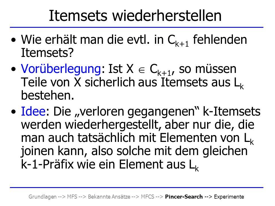 Grundlagen --> MFS --> Bekannte Ansätze --> MFCS --> Pincer-Search --> Experimente Itemsets wiederherstellen Wie erhält man die evtl. in C k+1 fehlend