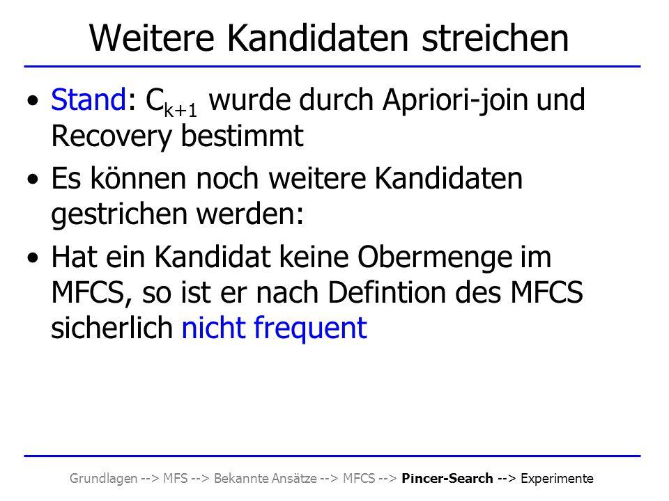 Grundlagen --> MFS --> Bekannte Ansätze --> MFCS --> Pincer-Search --> Experimente Weitere Kandidaten streichen Stand: C k+1 wurde durch Apriori-join