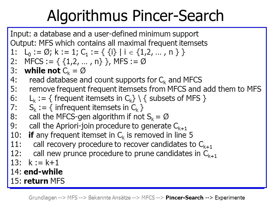 Grundlagen --> MFS --> Bekannte Ansätze --> MFCS --> Pincer-Search --> Experimente Algorithmus Pincer-Search Input: a database and a user-defined minimum support Output: MFS which contains all maximal frequent itemsets 1: L 0 := Ø; k := 1; C 1 := { {i} | i  {1,2, …, n } } 2: MFCS := { {1,2, …, n} }, MFS := Ø 3: while not C k = Ø 4: read database and count supports for C k and MFCS 5: remove frequent frequent itemsets from MFCS and add them to MFS 6: L k := { frequent itemsets in C k } \ { subsets of MFS } 7: S k := { infrequent itemsets in C k } 8: call the MFCS-gen algorithm if not S k = Ø 9: call the Apriori-join procedure to generate C k+1 10: if any frequent itemset in C k is removed in line 5 11: call recovery procedure to recover candidates to C k+1 12: call new prunce procedure to prune candidates in C k+1 13: k := k+1 14: end-while 15: return MFS