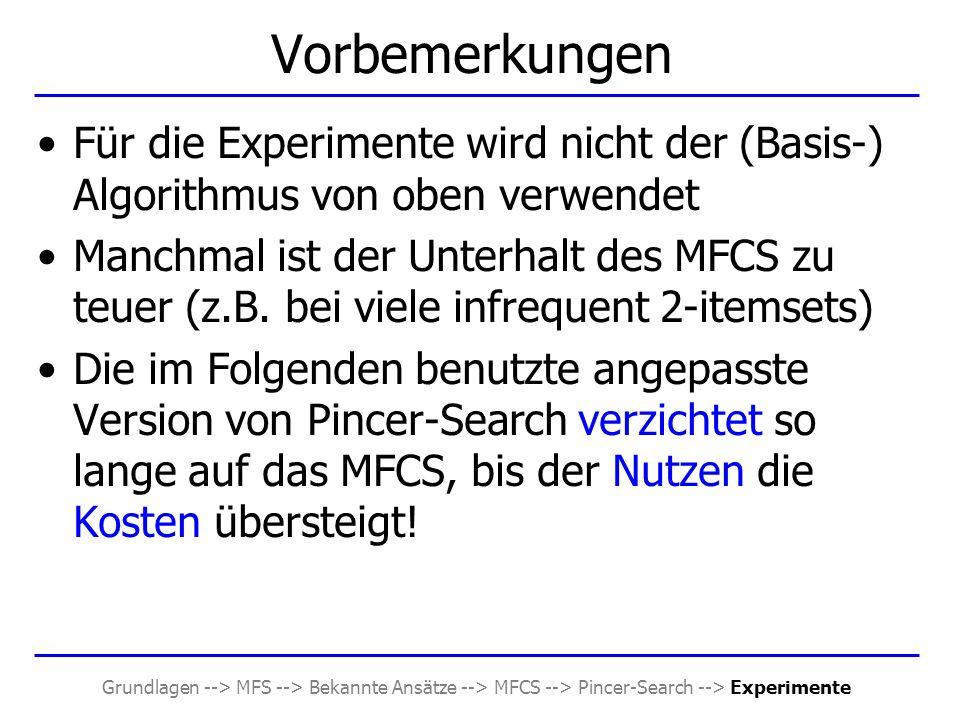 Grundlagen --> MFS --> Bekannte Ansätze --> MFCS --> Pincer-Search --> Experimente Vorbemerkungen Für die Experimente wird nicht der (Basis-) Algorith