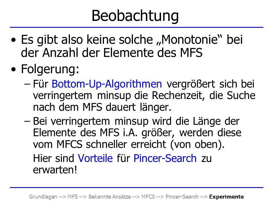 """Grundlagen --> MFS --> Bekannte Ansätze --> MFCS --> Pincer-Search --> Experimente Beobachtung Es gibt also keine solche """"Monotonie"""" bei der Anzahl de"""