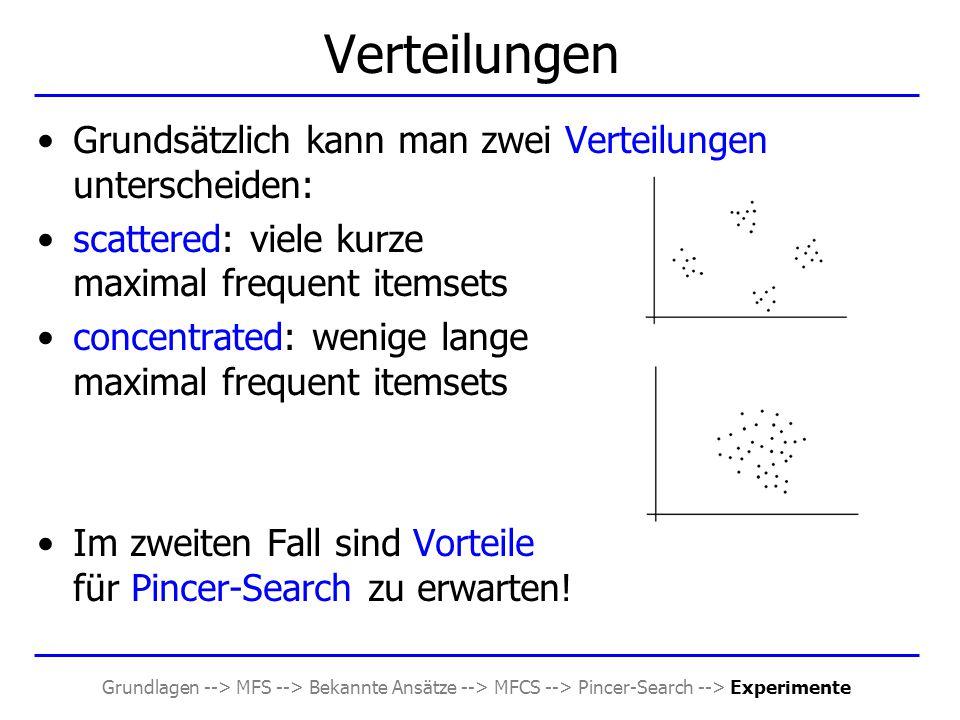 Grundlagen --> MFS --> Bekannte Ansätze --> MFCS --> Pincer-Search --> Experimente Verteilungen Grundsätzlich kann man zwei Verteilungen unterscheiden