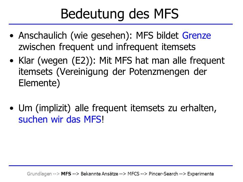 """Grundlagen --> MFS --> Bekannte Ansätze --> MFCS --> Pincer-Search --> Experimente Beobachtung Es gibt also keine solche """"Monotonie bei der Anzahl der Elemente des MFS Folgerung: –Für Bottom-Up-Algorithmen vergrößert sich bei verringertem minsup die Rechenzeit, die Suche nach dem MFS dauert länger."""