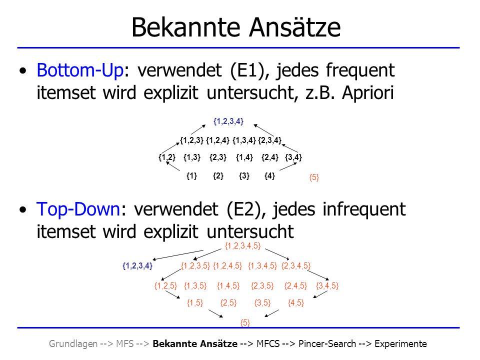 Grundlagen --> MFS --> Bekannte Ansätze --> MFCS --> Pincer-Search --> Experimente Itemsets wiederherstellen Sei X = {x 1, …, x k, x k+1, …, x l }  MFS, Y = {y 1, …, y k }  L k mit l > k und y 1, …, y k-1  X, y k-1 = x j für ein j Setze Y ' j+1 = {y 1, …, y k-1, x j+1 } Y ' j+2 = {y 1, …, y k-1, x j+2 }......
