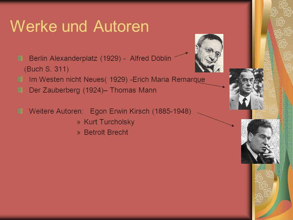 Werke und Autoren Berlin Alexanderplatz (1929) - Alfred Döblin (Buch S.