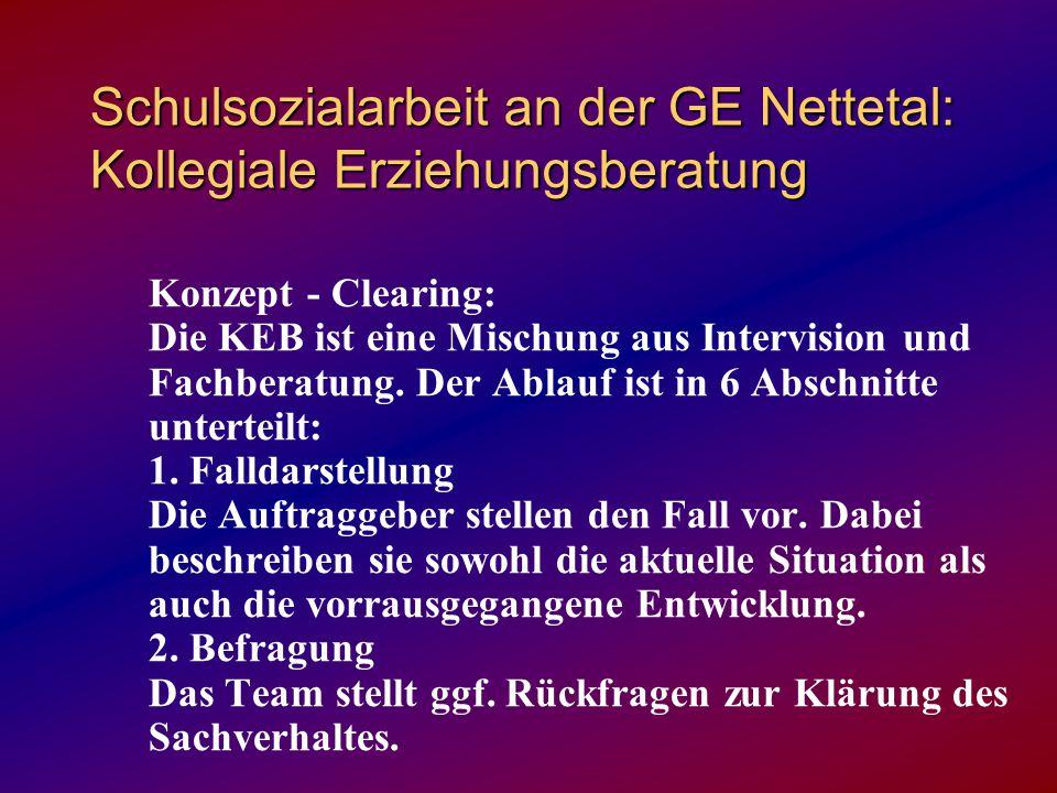 Schulsozialarbeit an der GE Nettetal: Kollegiale Erziehungsberatung Konzept - Clearing: Die KEB ist eine Mischung aus Intervision und Fachberatung.