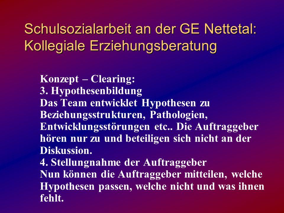 Schulsozialarbeit an der GE Nettetal: Kollegiale Erziehungsberatung Konzept – Clearing: 3. Hypothesenbildung Das Team entwicklet Hypothesen zu Beziehu