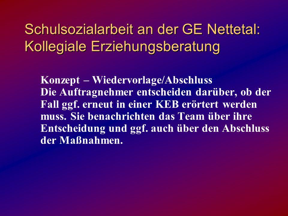 Schulsozialarbeit an der GE Nettetal: Kollegiale Erziehungsberatung Konzept – Wiedervorlage/Abschluss Die Auftragnehmer entscheiden darüber, ob der Fall ggf.
