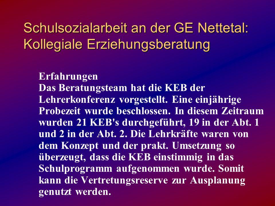 Schulsozialarbeit an der GE Nettetal: Kollegiale Erziehungsberatung Erfahrungen Das Beratungsteam hat die KEB der Lehrerkonferenz vorgestellt.