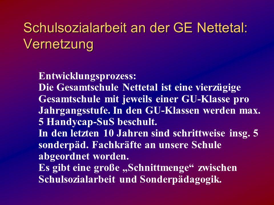 Schulsozialarbeit an der GE Nettetal: Vernetzung Entwicklungsprozess: Die Gesamtschule Nettetal ist eine vierzügige Gesamtschule mit jeweils einer GU-Klasse pro Jahrgangsstufe.
