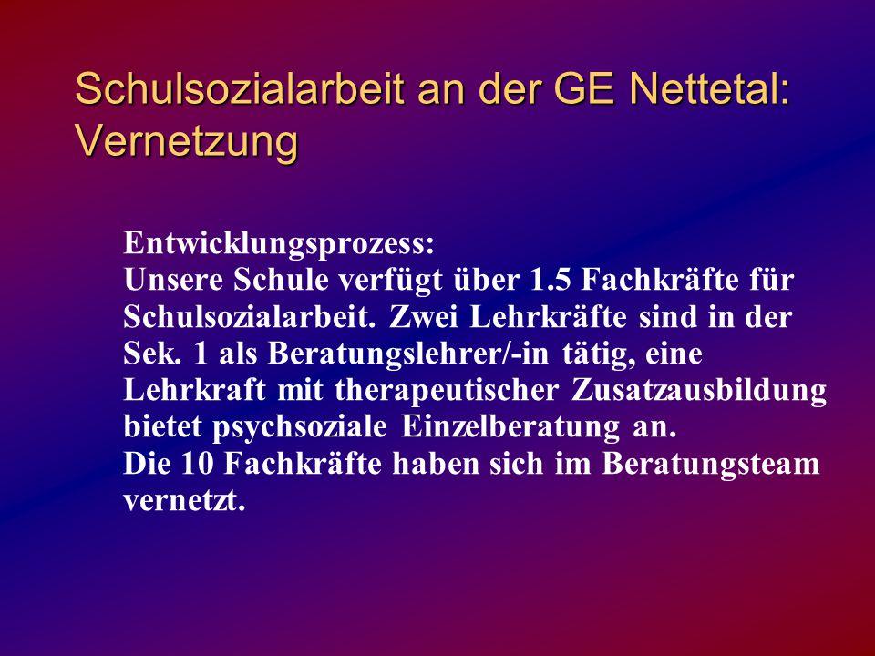Schulsozialarbeit an der GE Nettetal: Vernetzung Entwicklungsprozess: Unsere Schule verfügt über 1.5 Fachkräfte für Schulsozialarbeit. Zwei Lehrkräfte