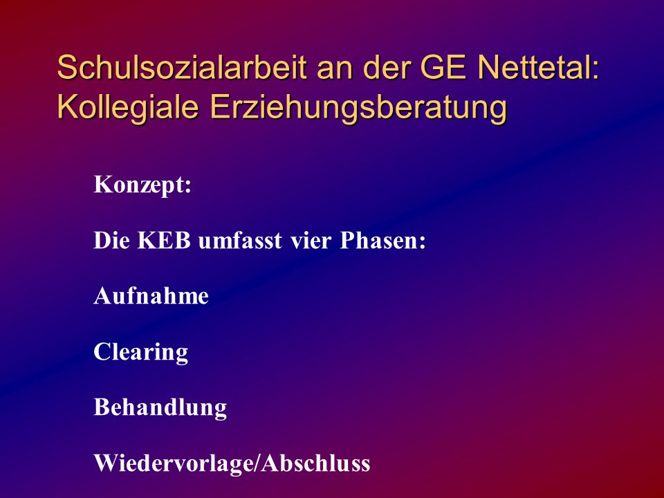 Schulsozialarbeit an der GE Nettetal: Kollegiale Erziehungsberatung Konzept: Die KEB umfasst vier Phasen: Aufnahme Clearing Behandlung Wiedervorlage/A