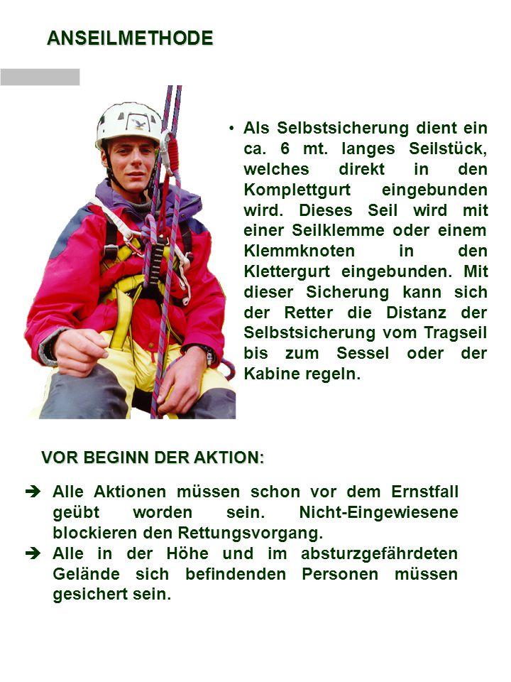 ABLAUF DER AKTION Gesicherter Aufstieg am Masten.