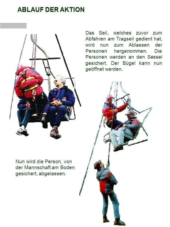 ABLAUF DER AKTION Um zum nächsten Sessel zu gelangen, muss der Retter die Seilrolle bzw.