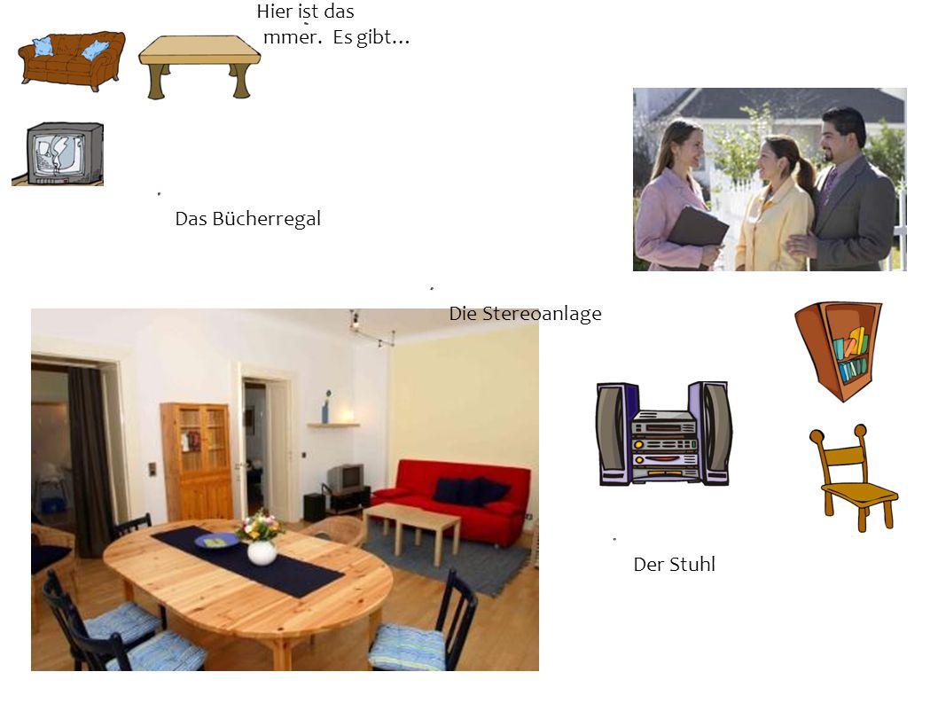 Hier ist das Wohnzimmer. Es gibt… Das Bücherregal Der Stuhl Die Stereoanlage