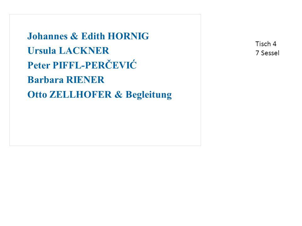 Johannes & Edith HORNIG Ursula LACKNER Peter PIFFL-PERČEVIĆ Barbara RIENER Otto ZELLHOFER & Begleitung Tisch 4 7 Sessel