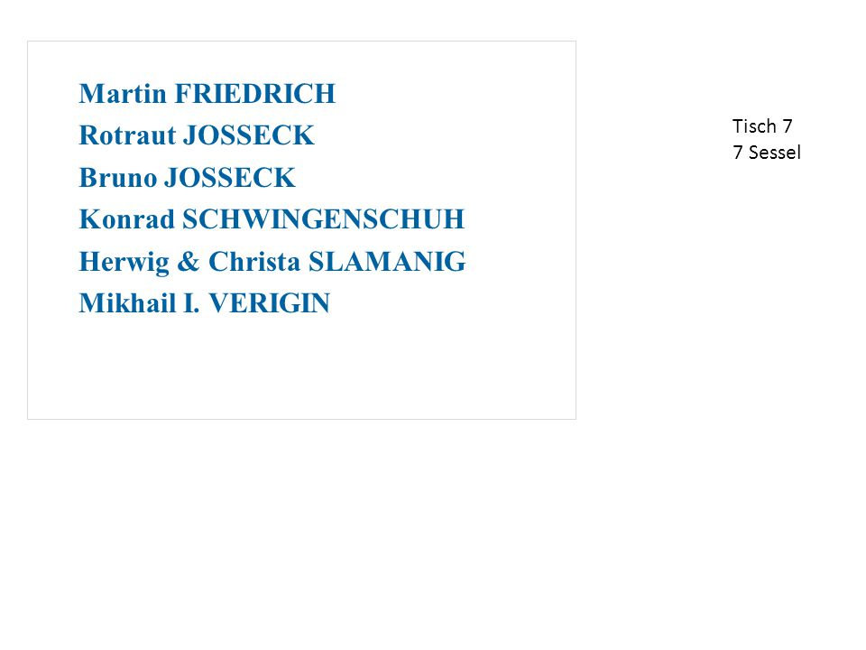 Martin FRIEDRICH Rotraut JOSSECK Bruno JOSSECK Konrad SCHWINGENSCHUH Herwig & Christa SLAMANIG Mikhail I.