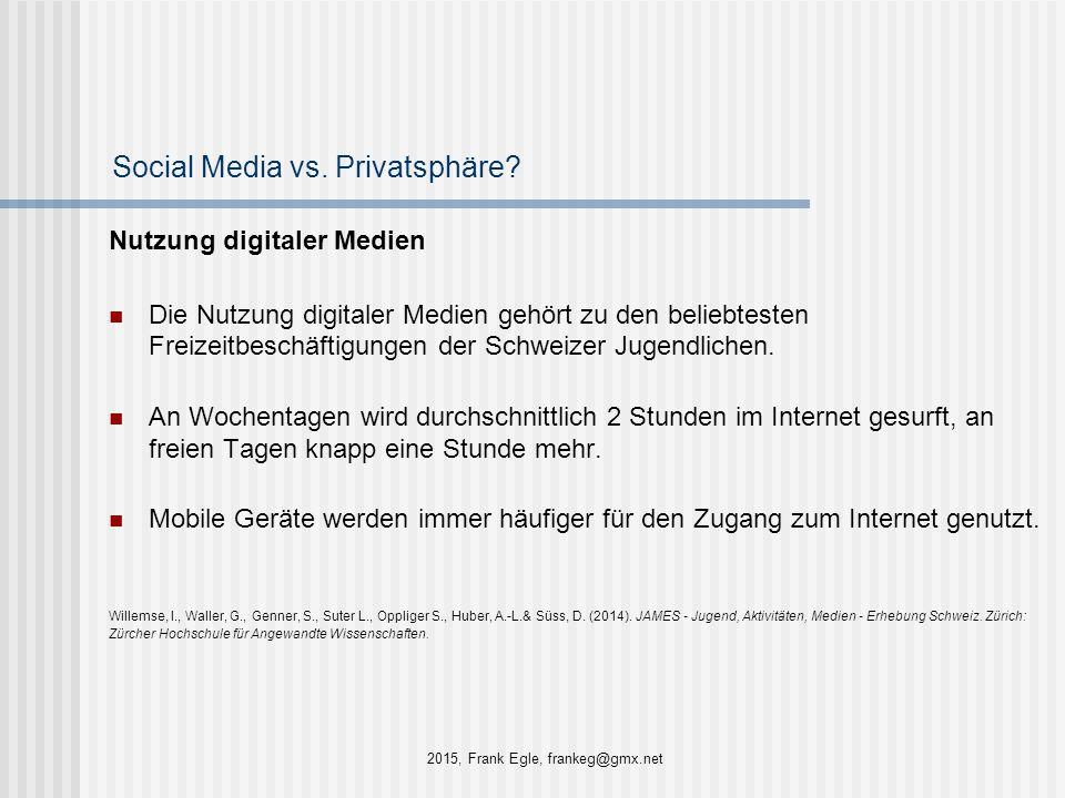 Social Media vs. Privatsphäre? Nutzung digitaler Medien Die Nutzung digitaler Medien gehört zu den beliebtesten Freizeitbeschäftigungen der Schweizer